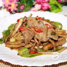 猪肝炒茶树菇的做法