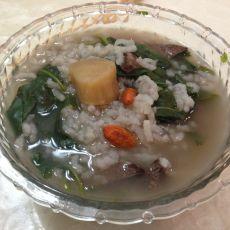 枸杞叶猪肝粥的做法