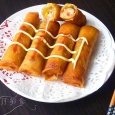 五彩杂蔬虾仁拉丝春卷