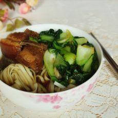 青菜红烧肉面的做法