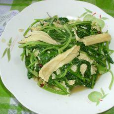 腐竹炒小白菜的做法
