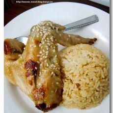 盐焗鸡翅配鸡油饭的做法