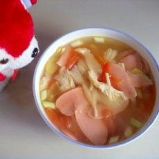 番茄平菇火腿汤的做法