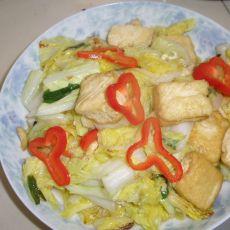 黄心白菜煎豆腐