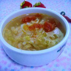 圆白菜西红柿汤的做法