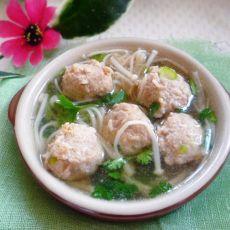 金针菇丸子汤的做法