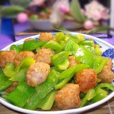 青椒烩肉丸的做法
