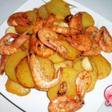 干锅土豆虾的做法