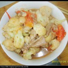番茄花菜炒肉片的做法